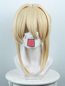Carnevale Parrucca cosplay oro chiara anime Giapponese parrucca resistente al Calore in Fibra