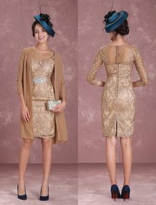 Vestido para la madre de los novios 2020  de color champaña con escote redondo con 3/4 manga de encaje ajustado