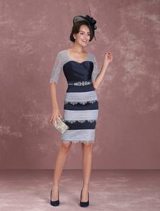 Vestido para la madre de los novios de color azul marino oscuro con cuello en V con 1/2 manga con cristal ajustado hasta la rodilla vestidos de madrina de boda vestidos para mamá