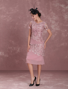 Мать невесты Платья Камея Розовая оболочка Кружева Шифон с коротким рукавом Чай Длина Свадебные платья для гостей