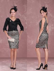 Vestido para la madre de los novios negro con escote ovalado con 3/4 manga con cristal ajustado hasta la rodilla
