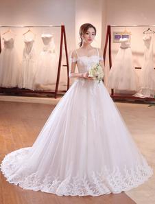 Vestito da Sposa Principessa avorio Mit Schleppe di Lacci maniche corte semplice con spalle scoperte