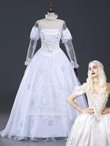 Costume Carnevale Costume di Carnevale Cosplay di Carnevale Alice nel paese delle meraviglie della regina bianca