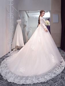 Vestido de noiva tipo princesa em forma de princesa Com Cauda gola redonda com mangas compridas Sem costas