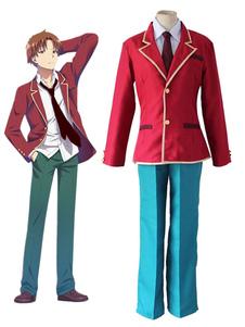 Disfraz Carnaval Disfraz de Classroom of the Elite De tela de uniforme rojo con abrigo&con corbata&con pantalones&con camisa Carnaval