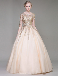 Champagne Prom Dresses Luxury Lace Embroidered Beading Keyhole Half Sleeve Floor Length Princess Quinceanera Dresses
