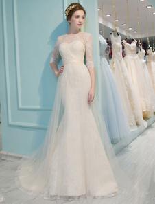 Vestido de noiva sereia em forma de trombeta/sereia Lace up com mangas de 1/2 Com Cauda Não