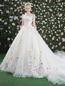 Flowers Quinceanera Dresses White Luxury Off The Shoulder Rhinestones Beading Short Sleeve Women's Pageant Dresses With Train