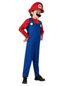 Traje de Halloween dos meninos Vermelho Super Mario Bros Macacão de dois tons com chapéu e pão Traje Waluigi
