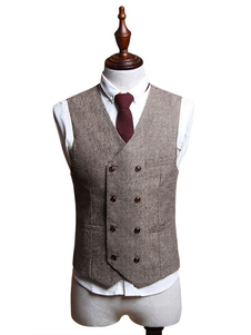 Costume Carnevale Retro costume di Light Brown degli uomini aristocratici di gilet di