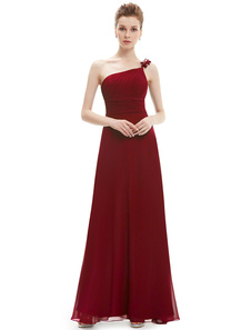 Burgundy Bridesmaid Dresses Long Chiffon Pleated One Shoulder Floor Length Prom Dress