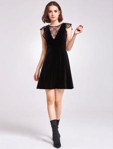 Маленькие черные платья Velvet V Neck Illusion без рукавов Короткие коктейльные платья