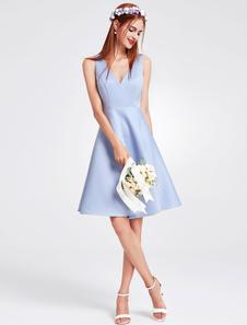 ブライズメイドドレス ショートドレス サテンファブリック ひざ丈 Aライン ノースリーブ Vネック ファスナー