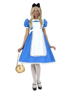 Disfraz Carnaval Disfraz de Alicia en el país de las maravillas Alice in Wonderland de poliéster azul con adorno para la cabeza&con vestido Carnaval
