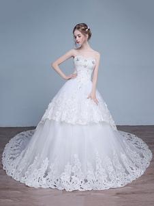Vestido de noiva tipo princesa em forma de princesa Com Cauda decote V em coração sem fitas sem mangas Lace up