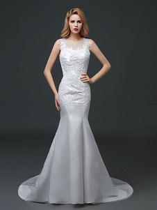 Sirena vestidos de novia de encaje vestido de novia de satén de satén rebordear la ilusión vestido de novia tren capilla