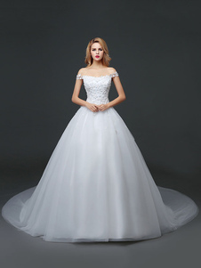 Princess Wedding Dresses Off The Shoulder Lace 3D Flowers Applique Tulle Ivory Long Train Bridal Gown