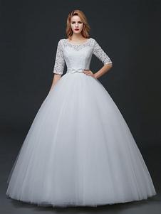 Принцесса Свадебные платья с половиной рукавом Backless Свадебное платье Кружева Тюль Bow Sash Maxi Длина пола Свадебное платье