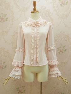 Blusa de Lolita Festa de Chá com gola dobrada Estilo ROCOCÓ com mangas compridas de gaze cor sólida top tops rosa clara