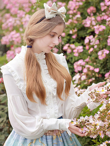 Классический Lolita Блузки Шифон Стенд Воротник с длинными рукавами Ruffles Плиссированные Белый Лолита Топ
