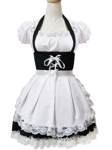 Maid Lolita Outfits White Lace Ruffles с коротким рукавом Bateau Neck Two Tone OP One Piece Платье с фартуком