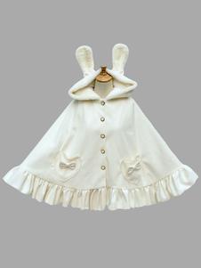 Capa de Lolita Encapuchada de conejo estilo dulce Color liso