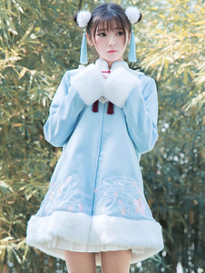 Hanfu Lolita Coat Stand Collar Luva longa Tweed Two Tone Embroidered Light Blue Lolita Overcoat