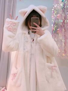 Сладкая Лолита Пальто из искусственного меха с капюшоном Cat Bows Двухцветное белое пальто Лолиты