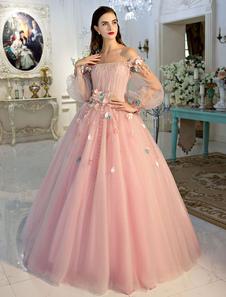 Vestido de Ocasião Luxo Lace up cauda até ao chão em forma de princesa decote V com mangas compridas rosa clara