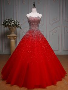 Vestidos de fiesta largos Vestidos de Ocasión de Lujo con escote palabra de honor hasta el suelo con cuentas sin mangas De banda de encaje rojo
