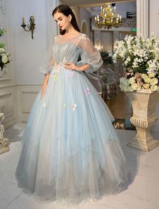 Vestido de Ocasião Luxo Lace up cauda até ao chão em forma de princesa gola redonda com mangas de 3/4 Azul limpo