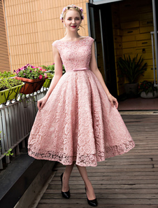 Vestido de Coquetel em linha-A cauda até aos gémeos Lace up Rosa Feijão Não sem mangas