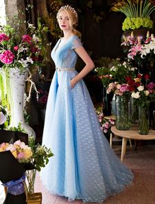 Длинные платья выпускного вечера Роскошные V шеи Rhinestones Бисероплетение Cap Sleeve Плиссированные кружевные тюль Детские синие формальные вечерние платья
