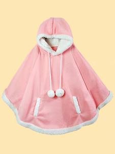 Sweet Lolita Poncho con capucha manga larga Pom Poms Pink Lolita Cape Coat