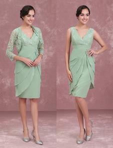 Мать невесты Платья Двух частей кружева шифон многоуровневый шалфей зеленый короткий оболочкой свадебное платье для гостя с курткой