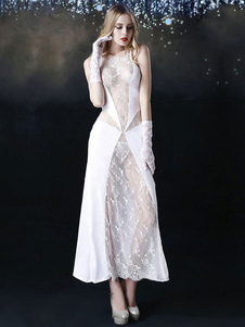 Сексуальный костюм невесты Хэллоуин с белыми кружевами с перчатками и спинкой для женщин