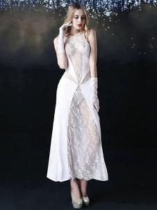Fantasia de noiva de raiom para Halloween Noiva de renda feminina branca