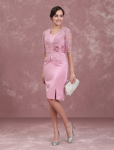 Мать невесты Платья Камея Розовый свадебное платье для гостя Короткая оболочка кружева V Шея Цветы Плиссированные свадебные платья