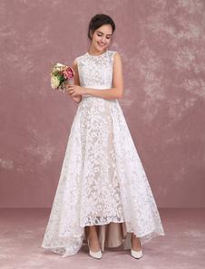 Шампанское Свадебные платья Кружева Высокий Низкий Пляж Свадебное платье Плиссированные Sash Асимметричные Свадебное платье