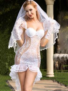 Сексуальный костюм невесты Белый кружевной русалка с вуалью и перчатками для женщин