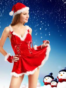Costume Carnevale Costume da Babba Natale sexy rosso bicolore natale velo di simil velluto cappello