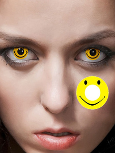 Party Cosmetic Cosplay Unisex Yellow Smile Makeup Circle Lens