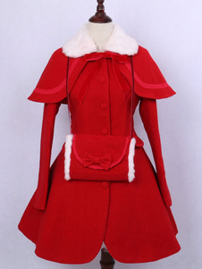 Vestuário Lolita clássico Lã de manga comprida Faux Fur Collar Ribbons Arcos Red Dress Coat Com Cabo E Luvas