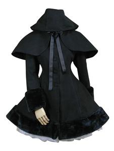 Chaqueta de Lolita gótico con cinta Encapuchado Color liso de mezclada de lana
