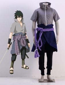 Disfraz Carnaval Traje para cosplay de Naruto de Uchiha Sasuke de Naruto con pantalones+protector de muñecas+Delantal sin peto+con Top+Faja elástica Carnaval