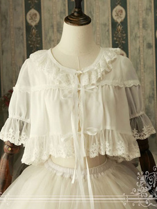 Классический Lolita Cover Up Magic Tea Party Шифон Круглая шея Ruffles White Lolita Вверх