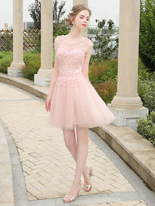 Короткое платье выпускного вечера мягкое розовое выпускное платье Tulle Illusion Mini формальное свадебное свадебное платье