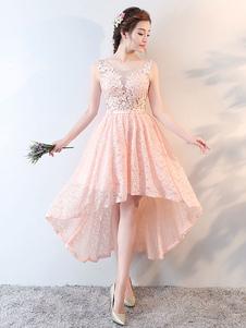 Платье для выпускного вечера с капюшоном из кружева с высоким низким вырезом из персикового бисера