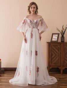 Пром платья Длинные органзы от плеча Ruffles вышитые полу рукавом формальное платье с поездом