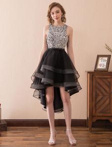 Платья для коктейлей Black Sequin Формальное платье для вечеринок High Low Tiered Cutout Свадебное свадебное платье Line Line